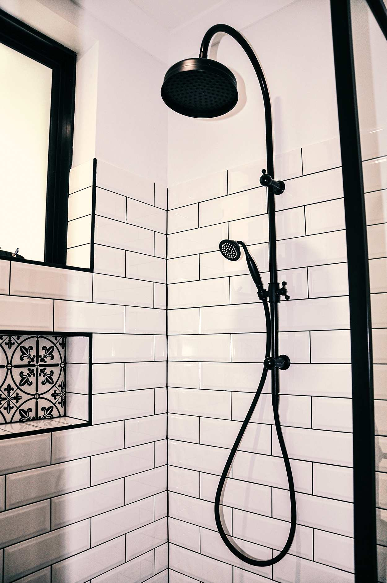 black shower rail and head in perth